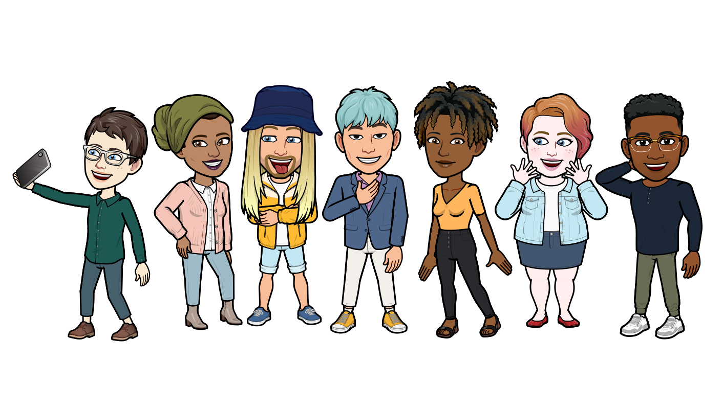 Seven Bitmoji avatars wearing a variety of outfits from the latest Mix and Match feature standing happily in a line.