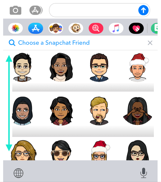 Snapchat friends visible, arrows instructing to scroll up or down to access all available friends