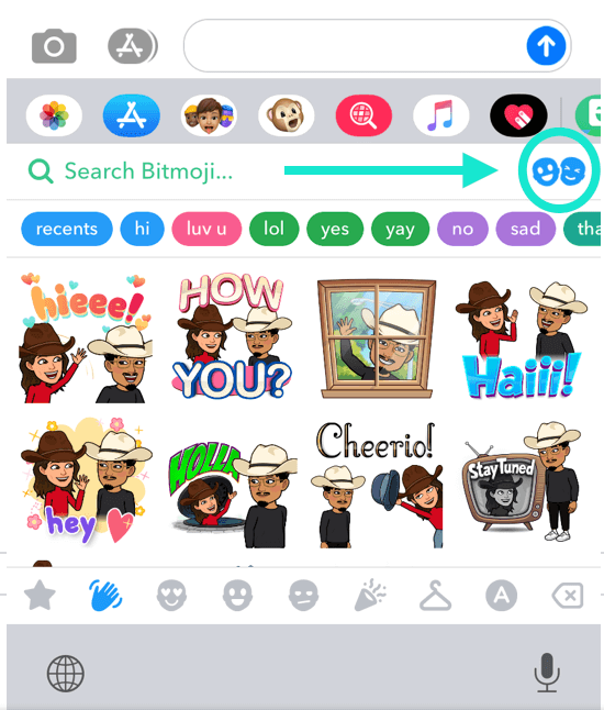 an arrow is indicating the location of the Friendmoji button to reset in the top right corner of the keyboard