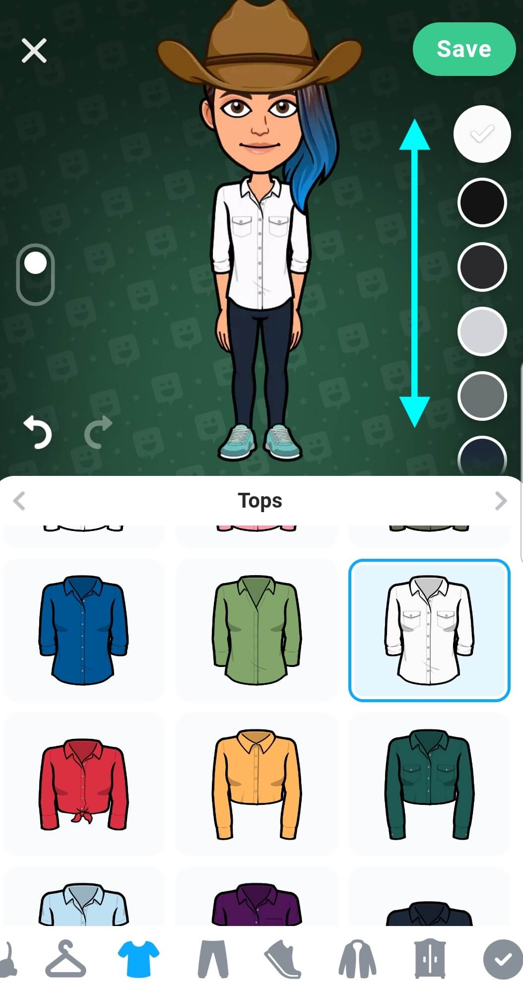 Bitmoji avatar wearing a long white long-sleeve button-down, the shirt is untucked