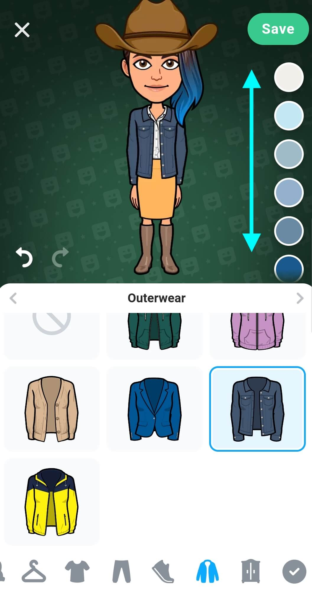Avatar now wearing a jean jacket over the shirt, the colour palette on the right has arrows indicating to swipe up or down for more colour options