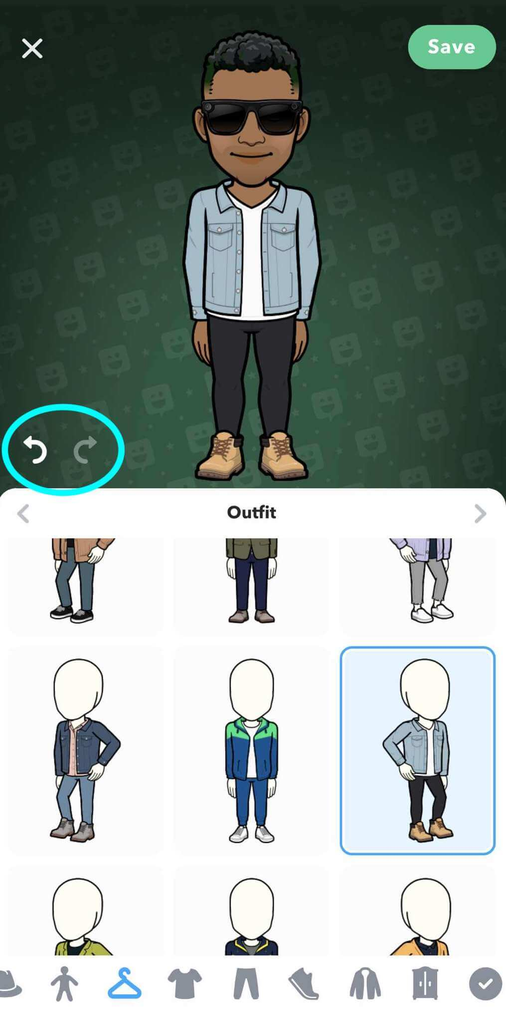 bitmoji avatar shown at the top and the outfit options are shown on the bottom half, a new outfit is selected and the Undo and Redo buttons are at the centre-left of the Avatar Designer screen