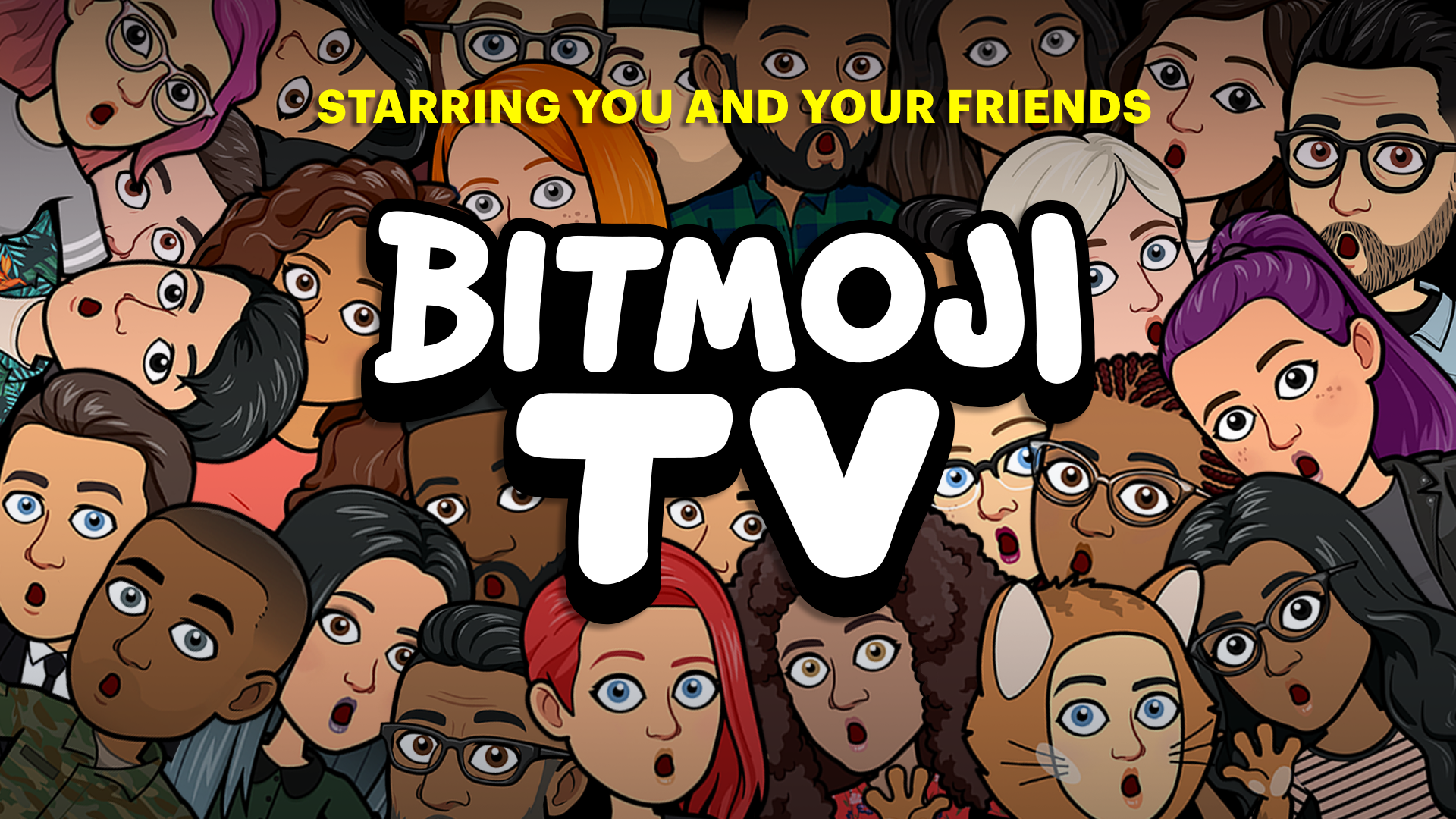 crowd of Bitmojis with their mouths agape, Bitmoji TV starring you and your friends