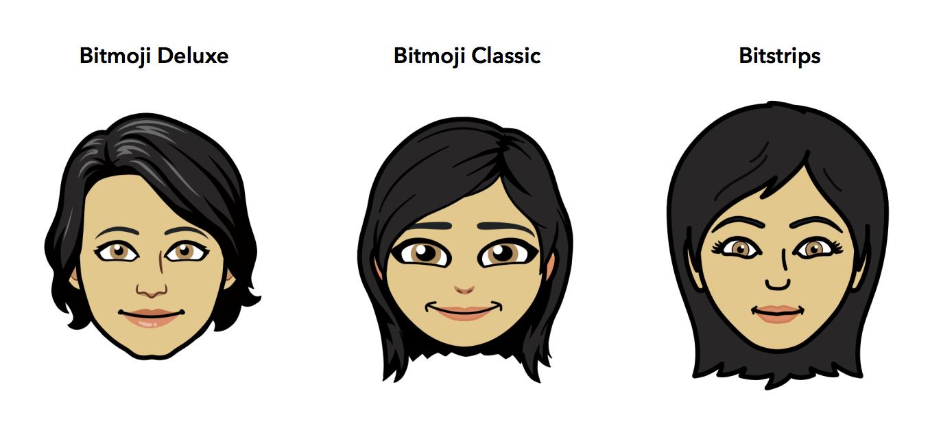 três estilos do bitmoji disponíveis Bitmoji Deluxe, Bitmoji Classic, Bitstrips