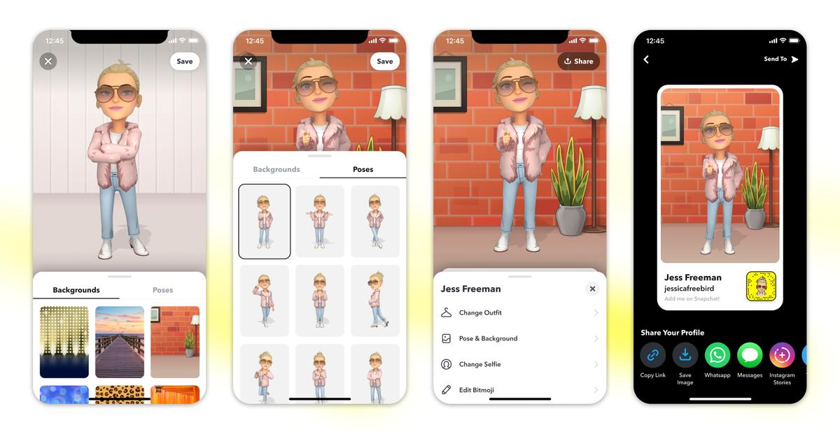 Cuatro imágenes muestran el proceso de personalización del encabezado de Bitmoji y las opciones para compartir el perfil